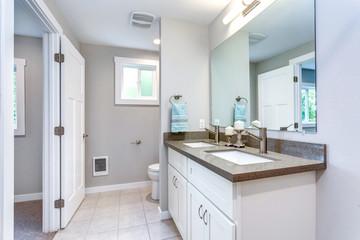 Elegant grey and white bathroom design
