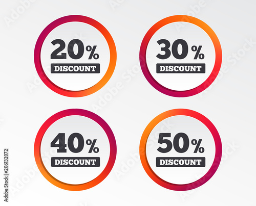 sale discount icons special offer price signs 20 30 40 and 50