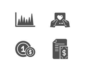 Set of Line graph, Usd coins and Love mail icons. Payment sign. Market diagram, Cash payment, Valentine letter. Cash money.  Quality design elements. Classic style. Vector