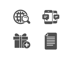 Set of Internet search, Add gift and Smartphone sms icons. File sign. Web finder, Present box, Mobile messages. Paper page.  Quality design elements. Classic style. Vector