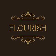 Flourish swirly lines. Page decorative divider. Filigree ornate frame. Wedding card, Greeting card design. Vector.