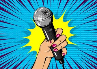 News comic text speech bubble. Woman pop art style fashion. Girl hand hold microphone cartoon vector illustration. Retro poster comimc book performance. Entertainment halftone background.