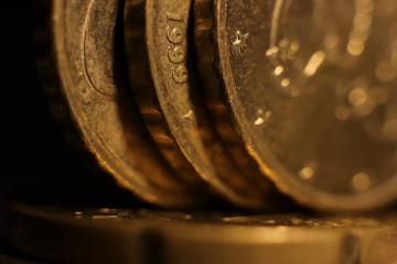 Coins Stack. Investment Finance Banking Earnings Concept. Euro. Macro Closeup.