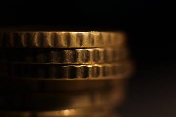 Euro Coins Stack. Investment Finance Banking Earnings Concept. Macro Closeup.