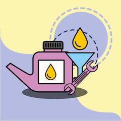 car service maintenance engine oil funnel wrench vector illustration