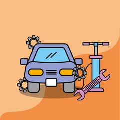 car service maintenance repair pump and spanner vector illustration