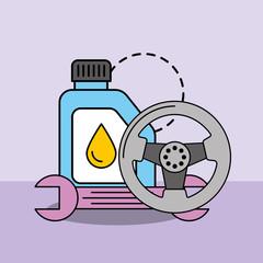car service maintenance engine oil steering wheel spanner vector illustration