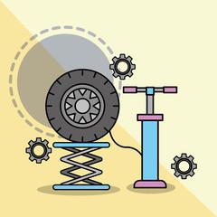 car service maintenance pump auto wheel vector illustration