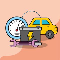car service maintenance battery wrench speedometer vector illustration