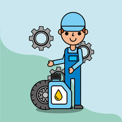 employee with wheel and oil bottle car service maintenance vector illustration