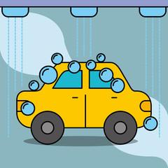 workshop car wash service maintenance vector illustration