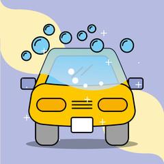car wash soap bubbles service maintenance vector illustration