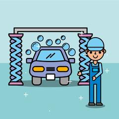employee car wash service maintenance vector illustration