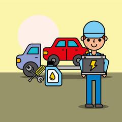 worker tow truck car service battery oil bottle vector illustration