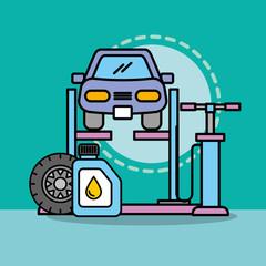 workshop car repair service maintenance oil and pump vector illustration