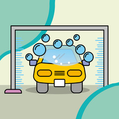 service maintenance car wash machine water and soap vector illustration
