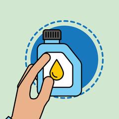 hand holding oil canistercar service maintenance vector illustration