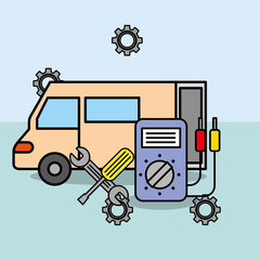 car service maintenance electrical and tools repair vector illustration