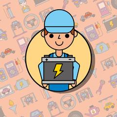 employee holding battery car service maintenance vector illustration