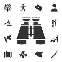 Binoculars icon. Simple element illustration. Binoculars symbol design from Crime collection set. Can be used for web and mobile