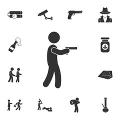 Man with a gun icon. Simple element illustration. Man with a gun symbol design from Crime collection set. Can be used for web and mobile