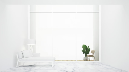Living room and balcony in hotel or apartment for relax space design - White room minimal design and white background for vacation time artwork -3D Rendering