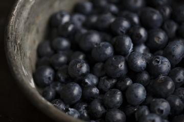 Closeup of fresh organic blueberries