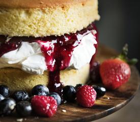 Homemade berry cake food photography recipe idea