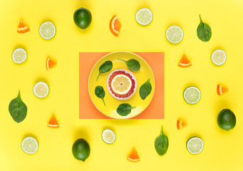 Pattern with grapefruit, lime and lemon. Tropical abstract background.