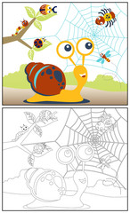 coloring book or page with little animals cartoon vector