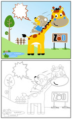 coloring book or page with funniest animals cartoon