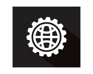 black globe gear business company office corporate image vector icon logo