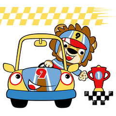 cartoon of lion the car racer. Eps 10