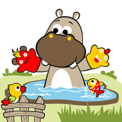 play dolls in swamp with hippo and little friends, vector cartoon illustration