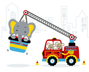 Funny animals cartoon with fire truck. Eps 10