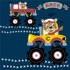 Monster truck race cartoon with funny racer