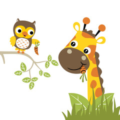 Cartoon of giraffe and owl. Eps 10