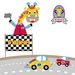 toy cars race with giraffe, vector cartoon illustration