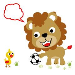 Animals playing soccer cartoon. Eps 10
