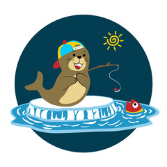walrus fishing time, vector cartoon illustration