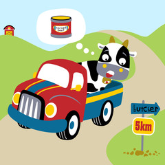 A frightened cow on a truck, vector cartoon illustration