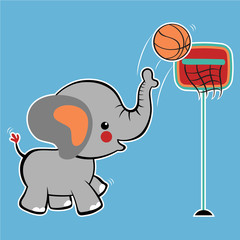 elephant playing basketball, vector cartoon illustration