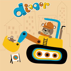 Little bear with mice on a digger, construction equipment, vector cartoon illustration