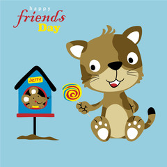 Nice cat and mouse, the best friend, vector cartoon illustration
