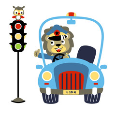 Lion the traffic cop with a little owl perch on traffic light, vector cartoon illustration
