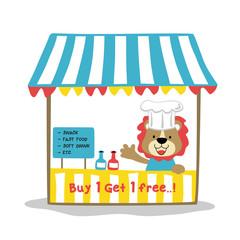 cute lion in hawker stalls, vector cartoon illustration