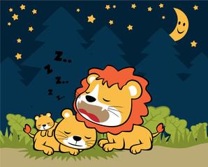 lion family in the night, vector cartoon illustration