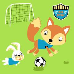 animals soccer player, fox, bunny. vector cartoon illustration