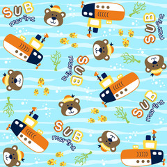 vector cartoon seamless pattern with cute animals. Bear the sailor with submarine