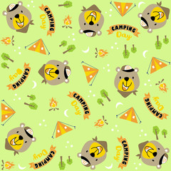 vector cartoon seamless pattern with cute animals. cute bear on camping day